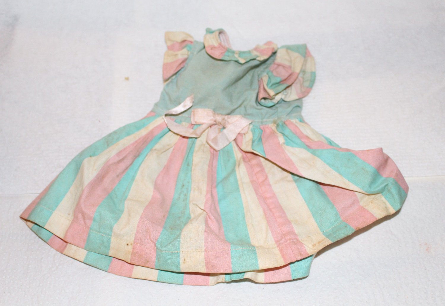 """VINTAGE 1950s DOLL DRESS GREEN PINK STRIPES RUFFLED SLEEVES FOR A 14"""" doll"""