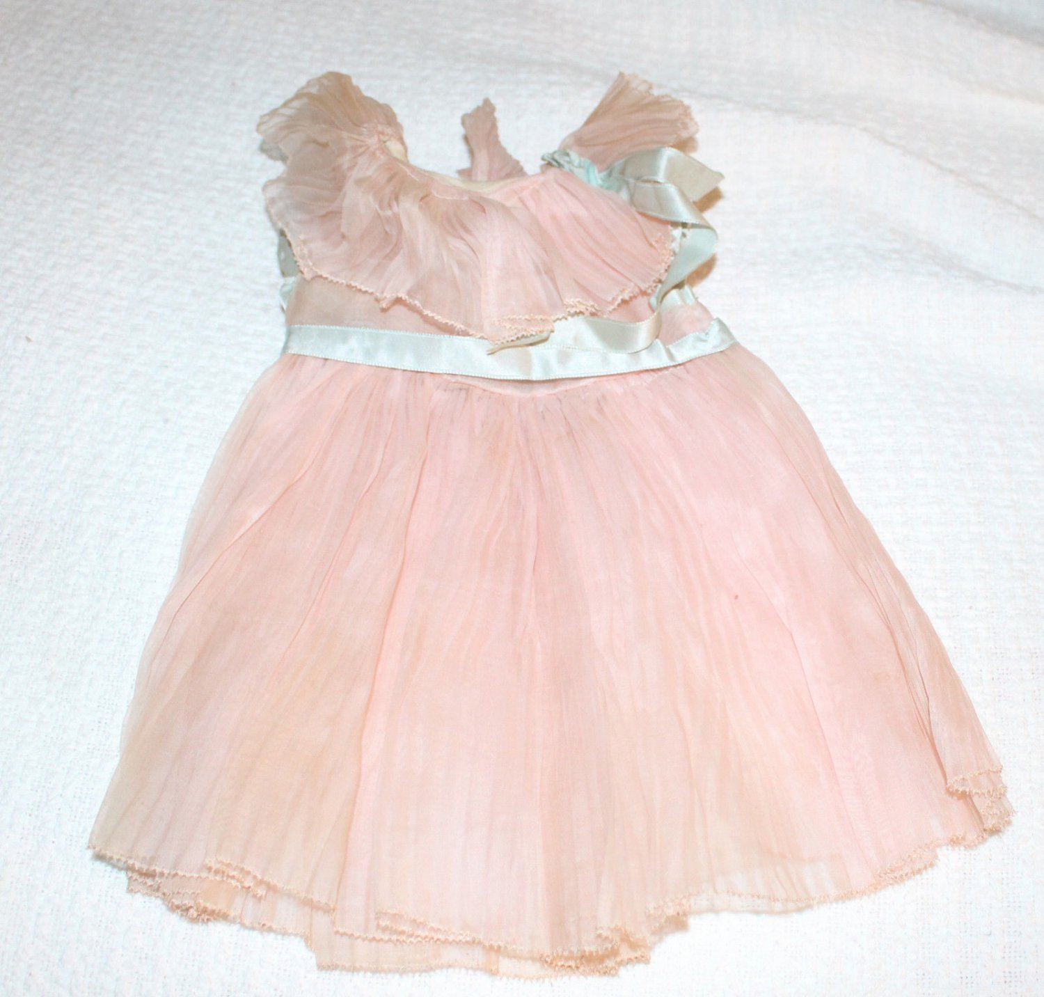 Vintage Pink Pleated Doll Dress Fits Shirley Temple