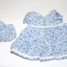 "VINTAGE DOLL DRESS BLUE FLORAL LACE TRIM MATCHING PANTIES 8-1/2"" L"