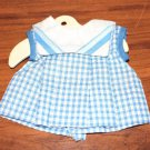 Vintage Doll Dress Blue White Checked Sailor Collar fits Small  Patsy Type Doll