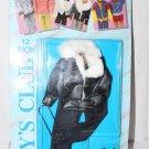 "1987 Clone Outfit Fits Ken 12"" Doll Black Jacket White Fuzzy Collar Slacks MOC"