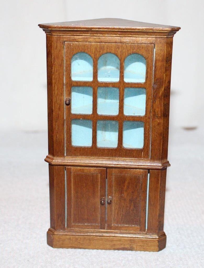 Dollhouse Miniature Corner Cupboard Blue Paint Antique Style