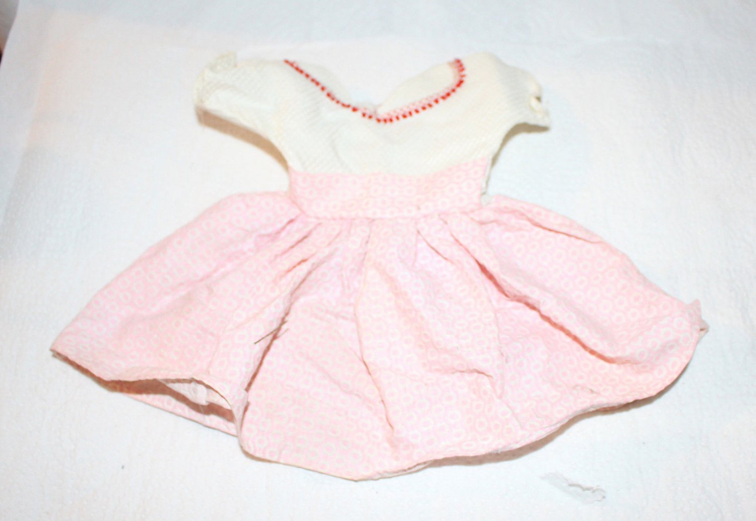 "Vintage Pink Doll Dress Circa 1950s 9-1/4"" Searsucker"