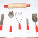 Vintage Toy Child Size Utensils Cooking Baking Red and White Handles 6 ieces