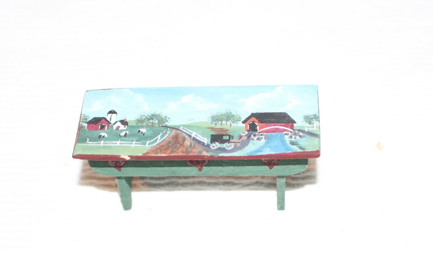 Beautiful Hand Painted Dollhouse Miniature Bench Country Farm Scene Detail Nice