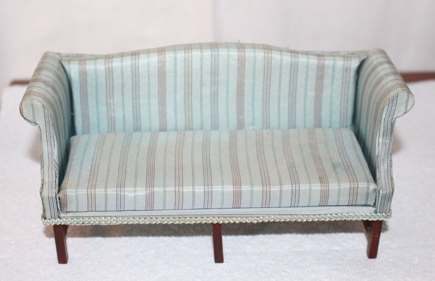 Dollhouse  Miniature Sofa Upholstered Grey Multi stripes Good Quality