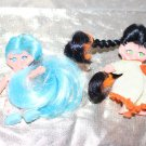 "2 Vintage Flatsy Dolls 2-3/4"" Turquoise Blue Hair + Dark hair Braids Mod Era"