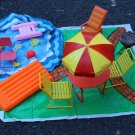 Vintage Barbie Pool BBQ Barbeque Set Furniture Floor Nice Group 70s/80s
