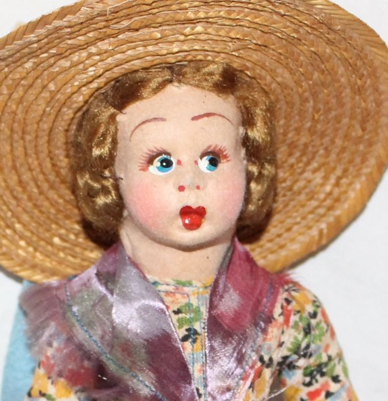 """Vintage Doll Cloth Side Glancing Eyes In the Style of Lenci 8"""" Tall"""