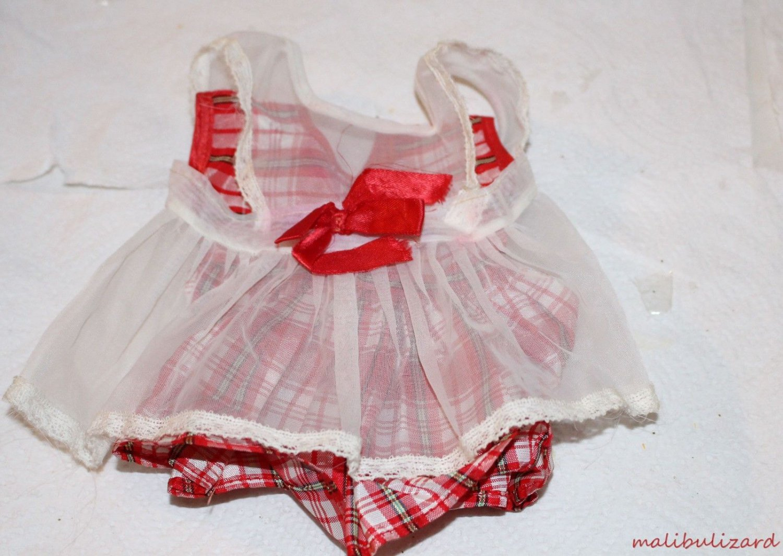Vintage Doll Dress Red Plaid Satin Shear Pinafore Adorable