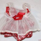 Vintage Doll Dress Red Plaid Satin Shear Pinafore Adorable