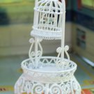 Dollhouse Furniture White Metal Wicker Style Birdcage On a Large Stand Unusual