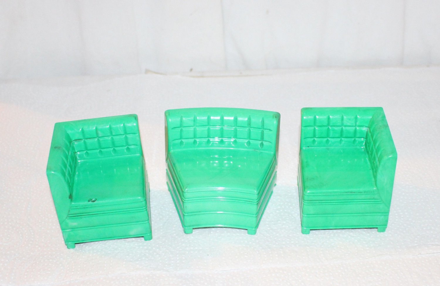 VINTAGE IDEAL  YOUNG AMERICA GREEN SECTIONAL SOFA 3 PIECES HTF