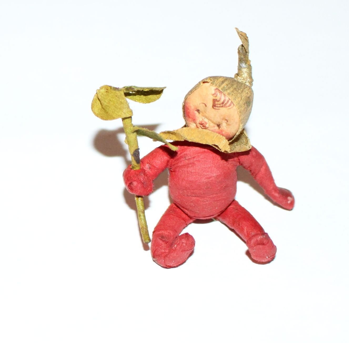 Dollhouse Miniature Figure Red Pixie Artist Made He's Holding a Branch