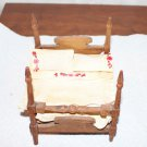 Vintage Dollhouse Miniature Canopy Bed Bedding Rope Base