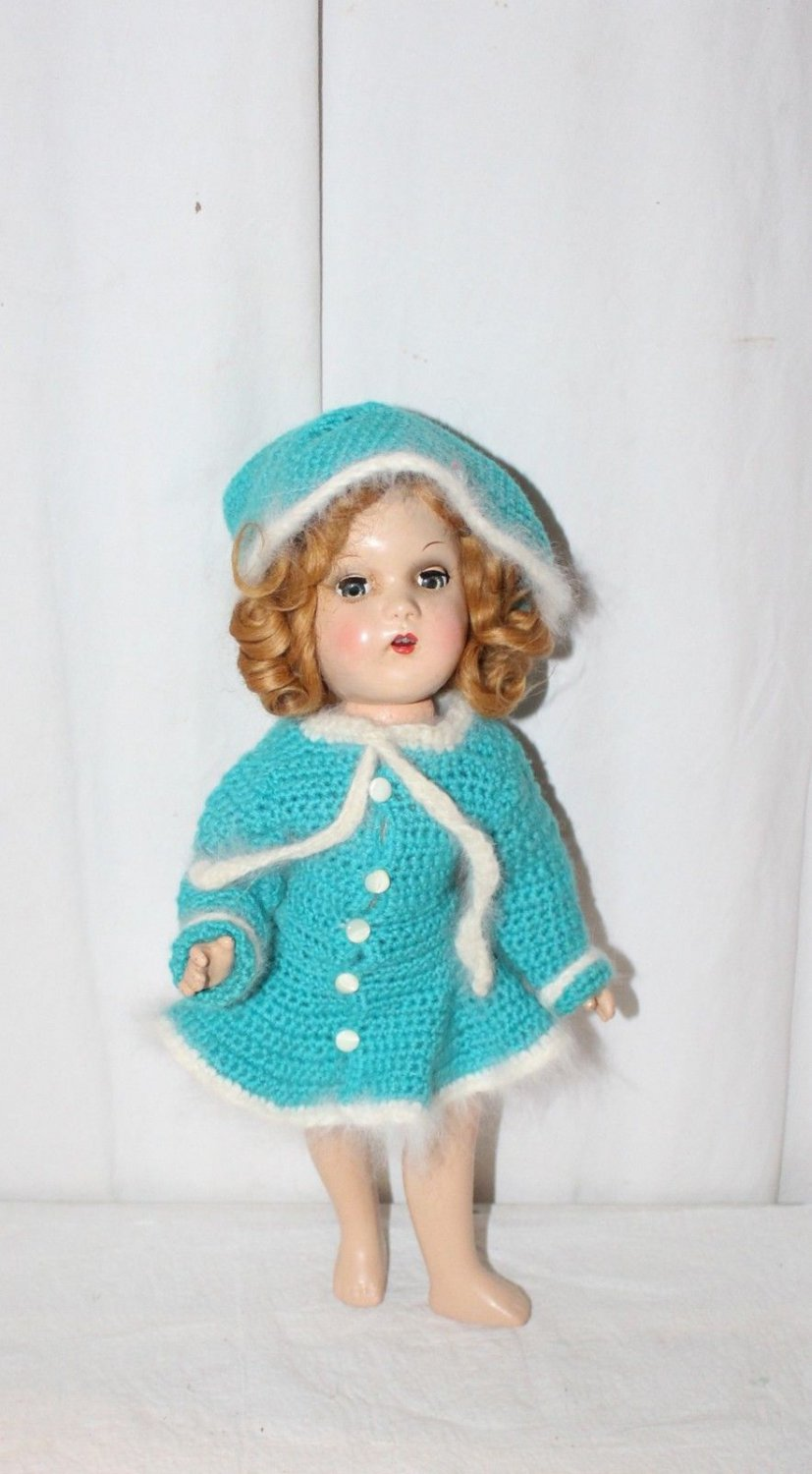 """VINTAGE TURQUOISE BLUE CROCHET KNIT SKATING OUTFIT FITS 14"""" MARY HOYER DOLL"""