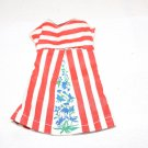 VINT SEW FEW FASHION DRESS RED WHITE STRIPES BLUE FLORAL FITS BARBIE