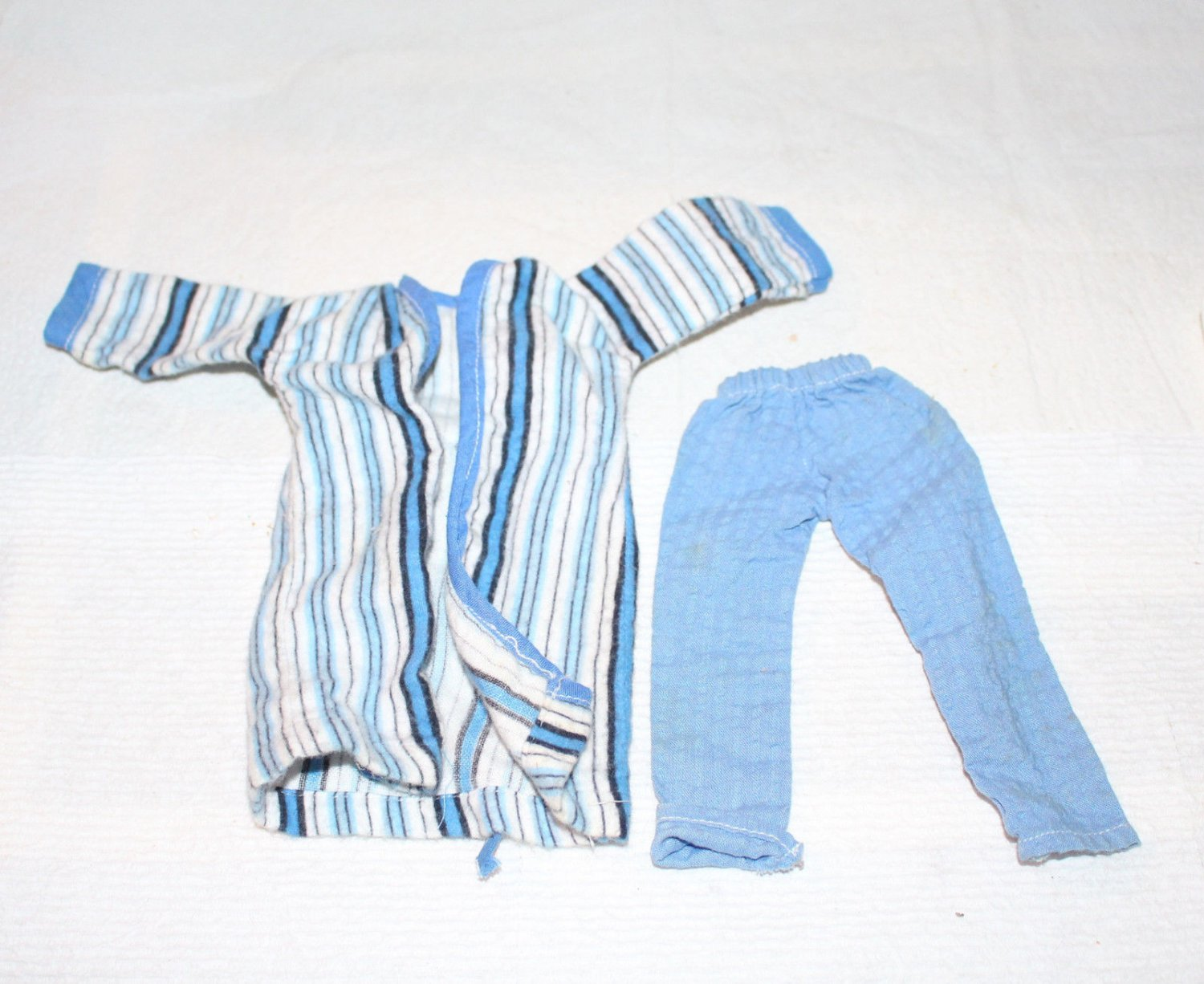 Vintage Boy Doll Pajamas Searsucker Pants Striped Flannel Robe