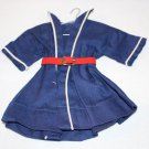 "VINT DOLL DRESS FITS 13"" SHIRLEY TEMPLE DOLL BLUE DRESS WHIE TRI RED BELT"