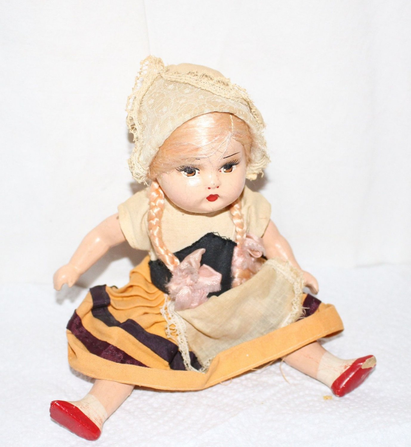 """Vintage 9"""" Doll Dutch Outfit Painted Eyes Mouth Shoes Jointed"""