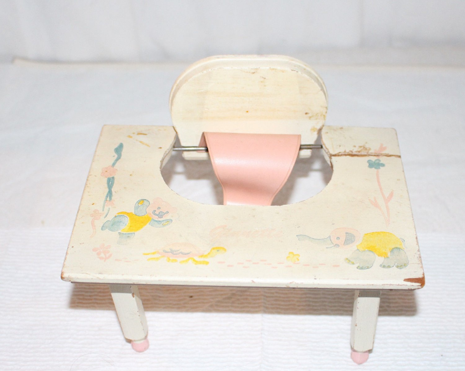 VINTAGE GINNETTE WOODEN SEAT LOW TABLE WITH VINYL SEAT PAINTED BLUE