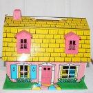 Vintage Tin Litho Dollhouse Pink Barn Shape House Furniture People Marx