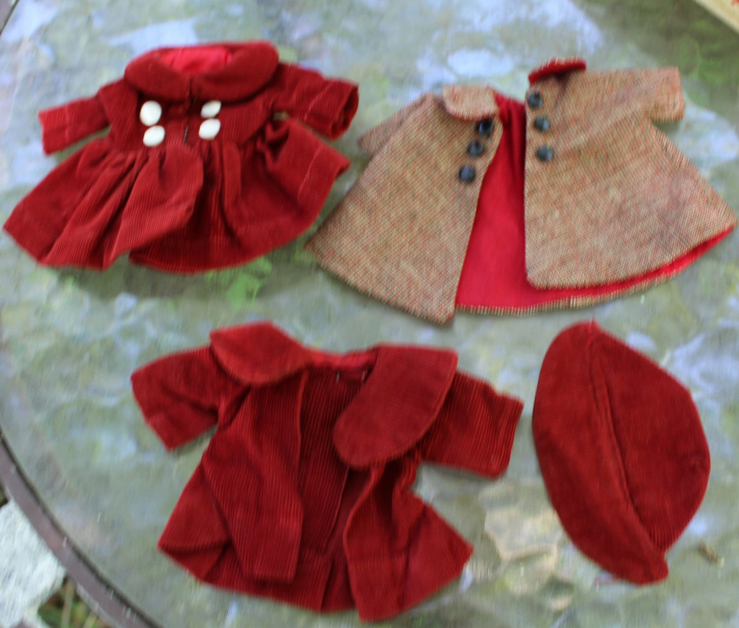 Vintage Doll Clothes 4 Pieces Corduroy Coat Hat Dress Plaid Rust Color Red