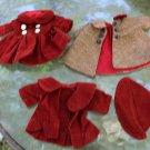 Vintage Doll Clothes 4 Pieces Corduroy Coat Hat Dress Plaid Rust Color Red