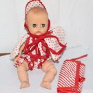 Vint Vogue Ginnette Doll Molded Hair Lashes Sleep Eyes Red White otted Swimsuit