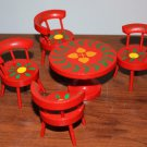 Vintage Dollhouse Table Chairs MIB Japan Orange + Painted Flowers Barrel Chairs