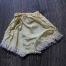 """Vintage Fashion  Doll Panties Yellow with  White Lace Large 4"""" l x 2-1/2"""" Waist"""