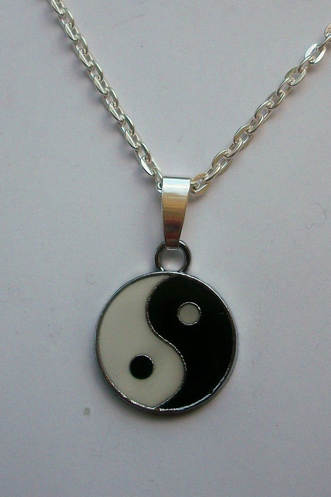 Yin Yang Black & White Enamelled Pendant Necklace