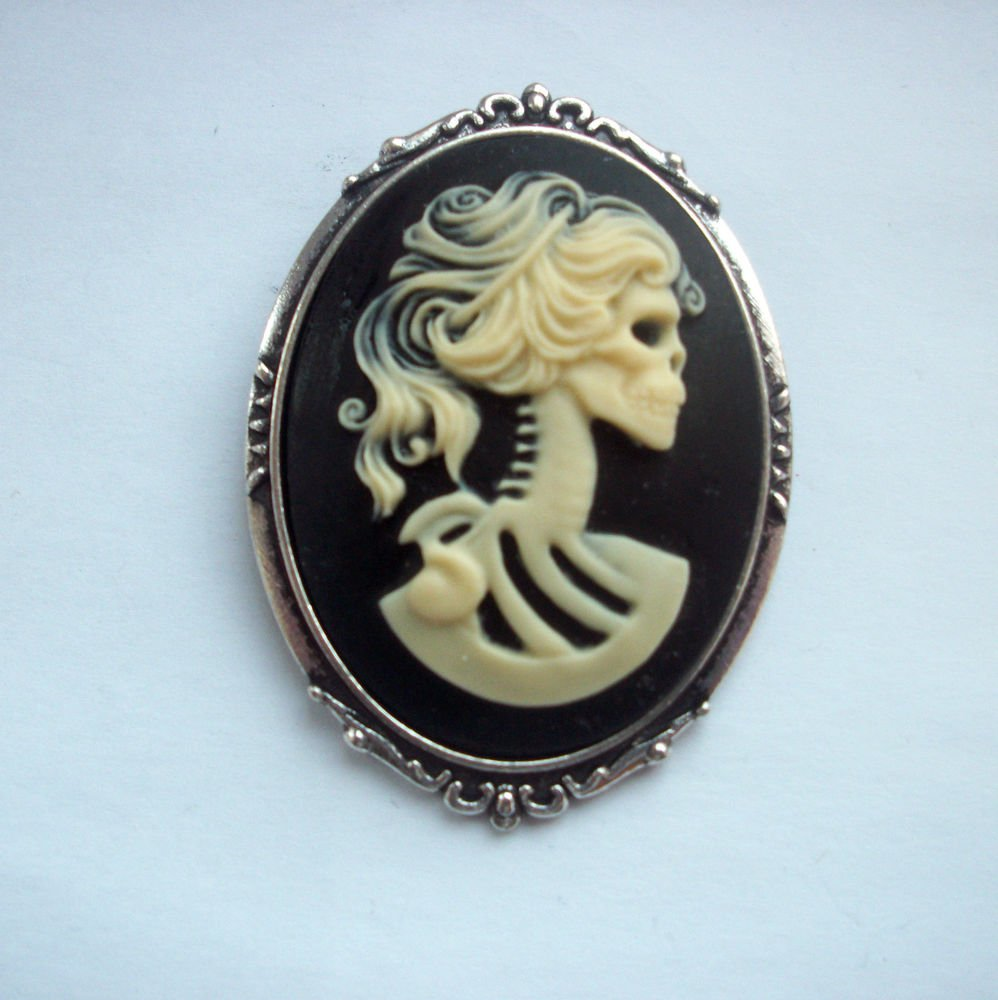 Lolita Skeleton Girl Gothic Cameo in Antiqued Silver Tone Brooch 48mm