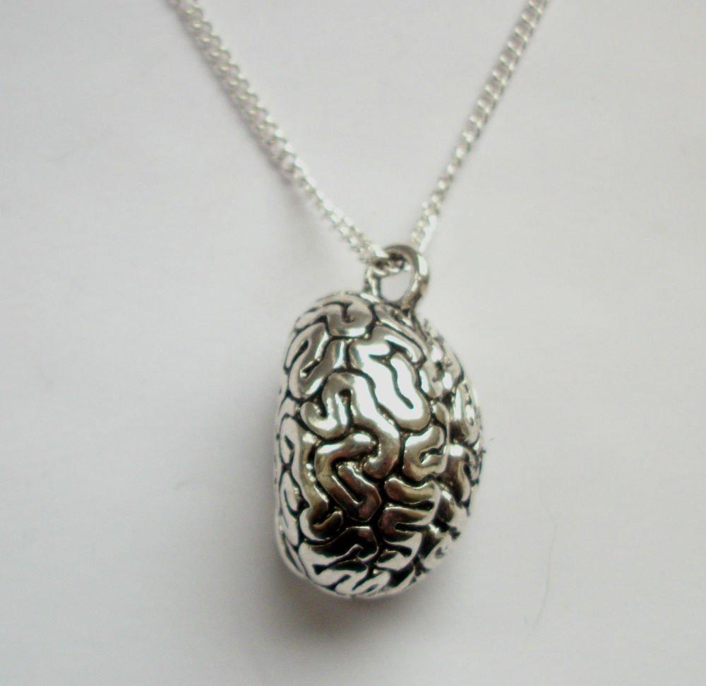 Brain Organ Pendant Gothic Silver Tone Necklace