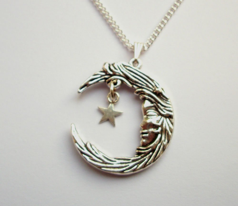 Moon Goddess large Moon Silver Tone Metal Pendant Necklace 18 inch