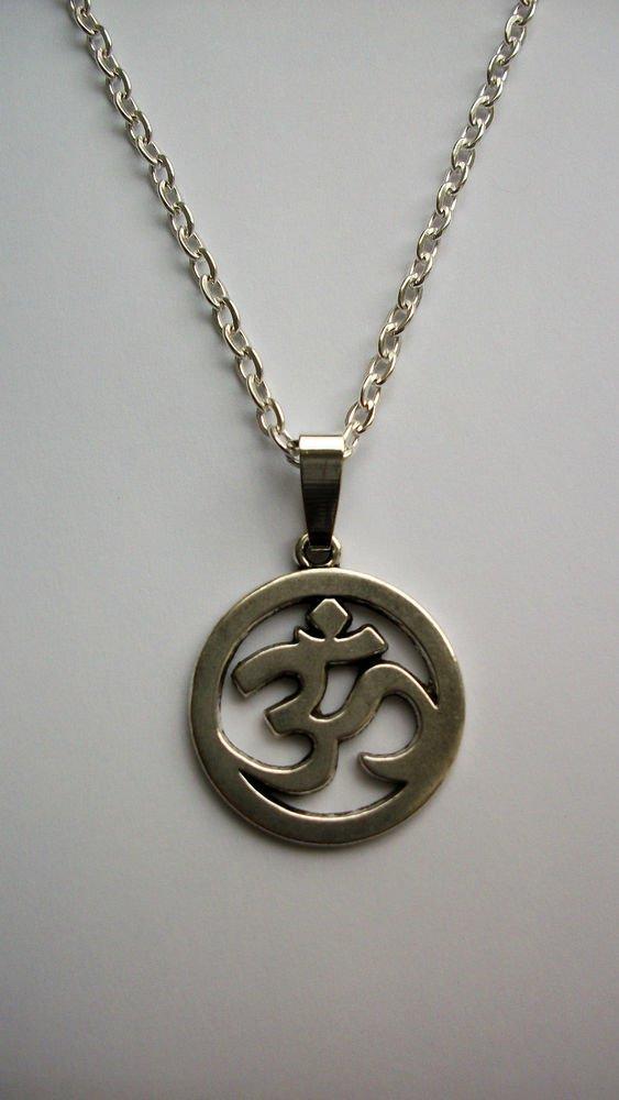 Om Sign Symbol Silver Tone Pendant Necklace