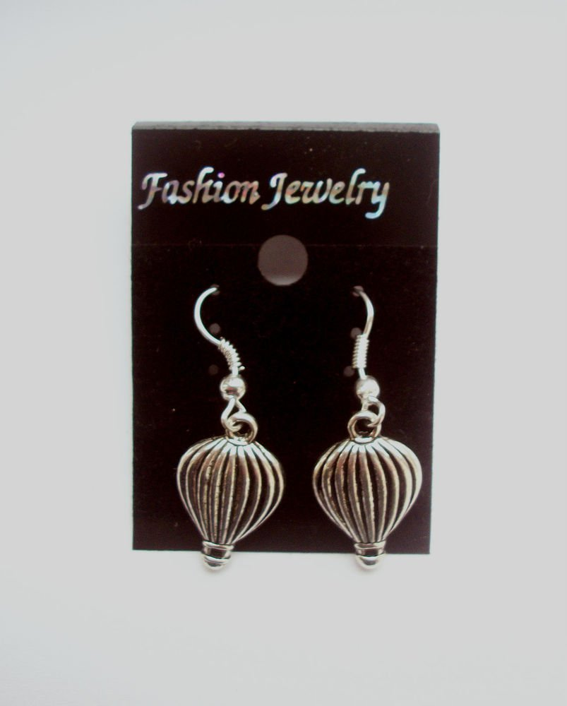 Hot Air Balloons Silver Tone Earrings