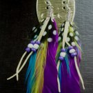 Feather Earrings Ethnic, Boho, Tribal, Hippy Summer Festival