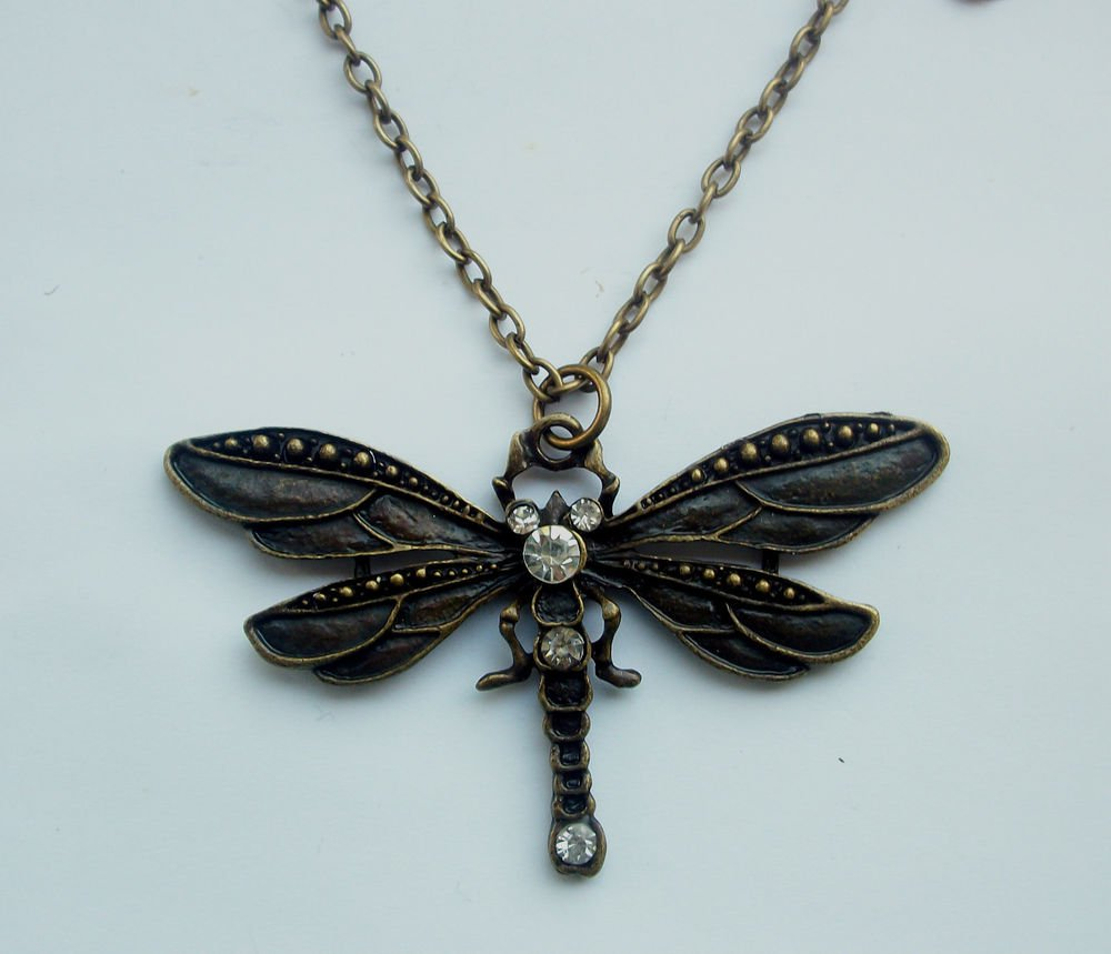 Large Dragonfly Antiqued Bronze Tone with Rhinestones Pendant Necklace