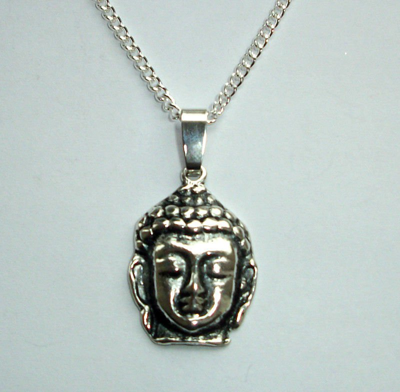 Buddha Head Pendant Necklace  Silver Tone