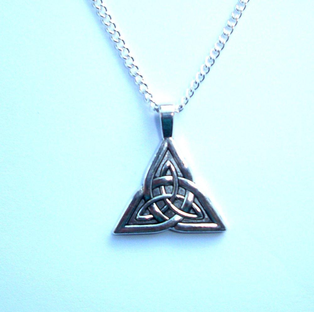 Triquetra, Celtic Knot, Silver Tone Pendant Necklace
