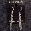 Sword Dagger Charm Earrings Silver Tone Metal
