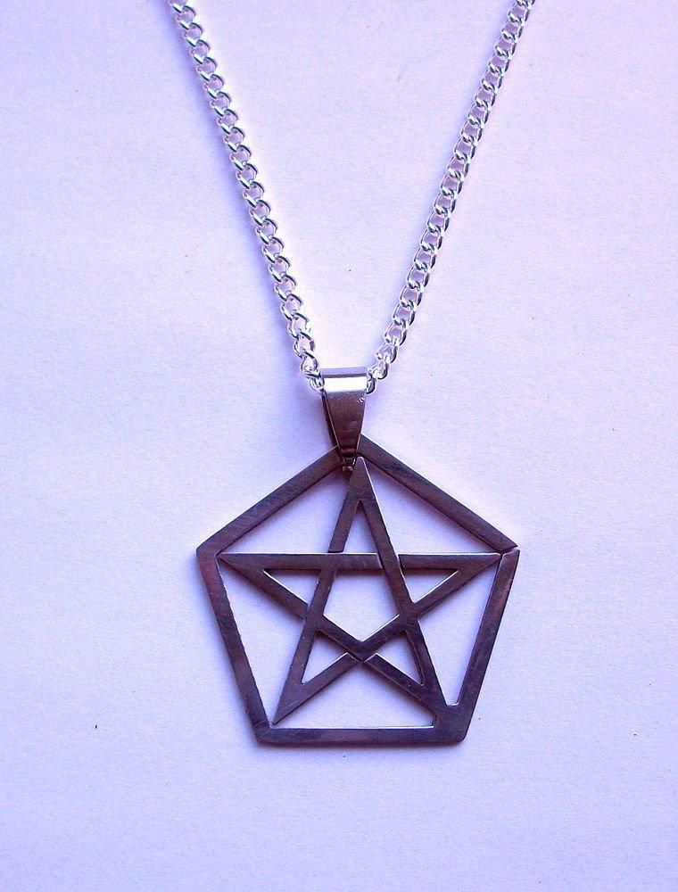 Pentagram Pendant Necklace Silver Tone
