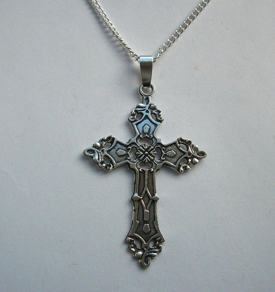 Cross Crucifix Silver Tone Pendant Necklace