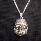 Buddha Head Silver Tone Metal Pendant & Chain Necklace 18 inch