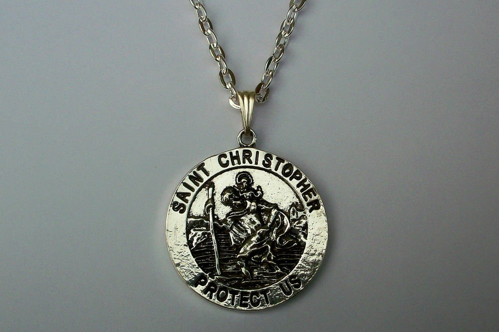 St Christopher Medallion Silver Tone Pendant Necklace