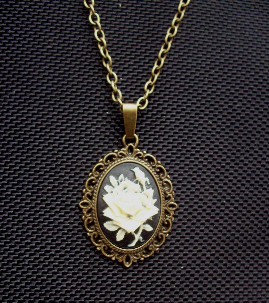 Gothic Rose Cameo Pendant Necklace Antiqued Bronze Tone 18 inch