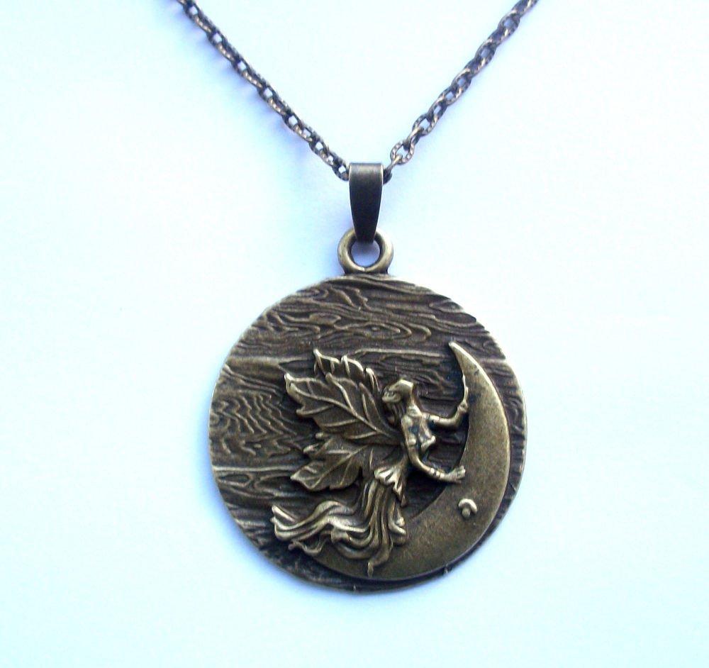 Moon Goddess Fairy Antiqued Bronze Tone Pendant Necklace