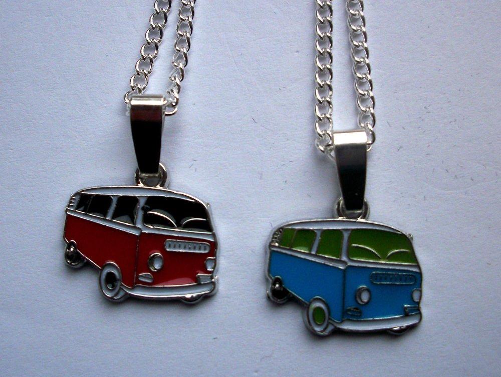 VW Camper Van Enamelled Pendant Necklace