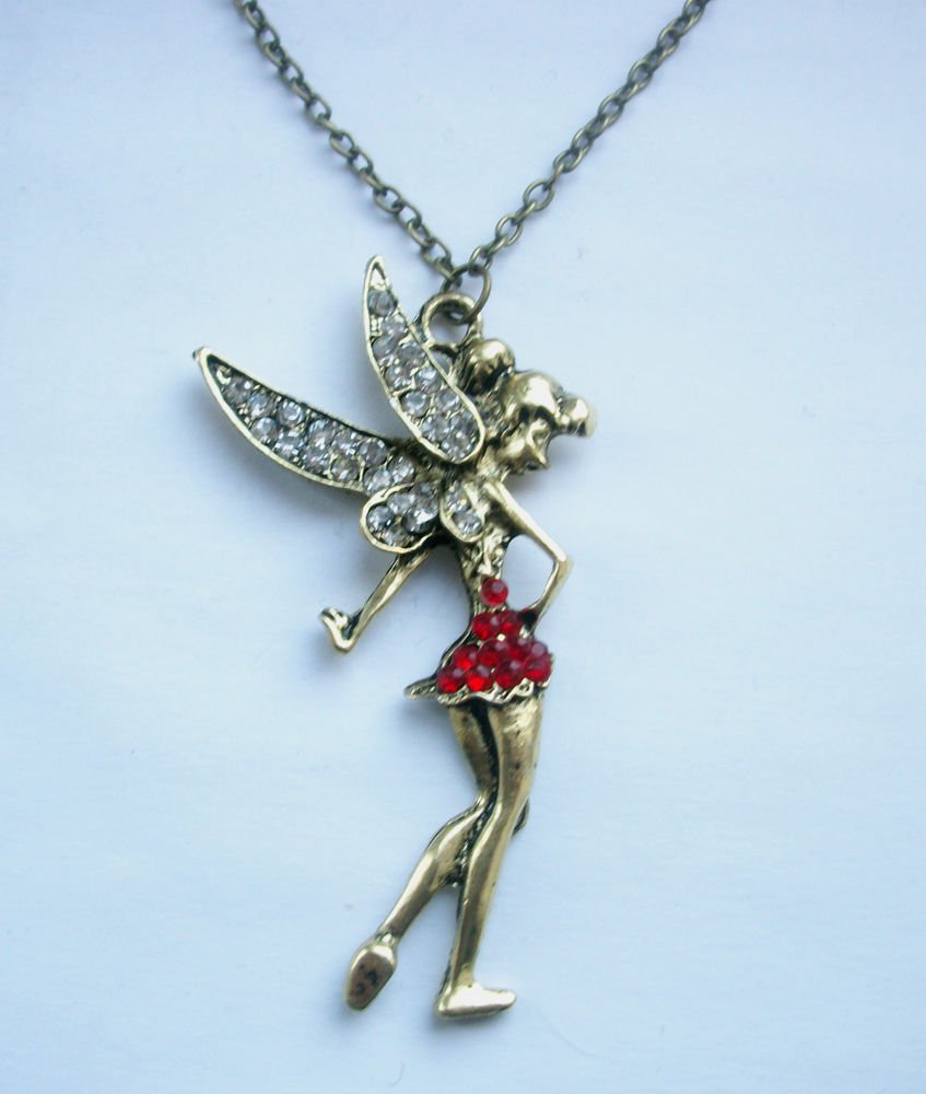 Fairy Tinkerbell Rhinestone Pendant on Long Chain